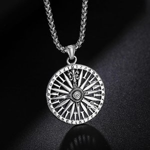 Wholesale talisman necklace for sale - Group buy Gothic Round Compass Pendant Chain For Men Vintage Punk Rock Talisman Jewelry Nordic Amulet Runes Necklace