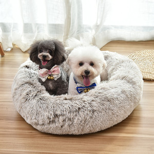 Wholesale large dog kennels resale online - Long Plush Fluffy Pet Dog Round Dog Kennel Bed Dog Beds Donut Bench Soft Warm Chihuahua Kennel Large Mat Pet Supplies LLS747