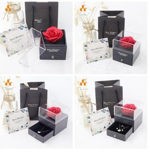 Wholesale roses boxes resale online - Rose Flower Jewelry Boxes Romantic Valentine Mother Day Necklace Ring Immortal Flower Jewelry Boxes Gift Wrap Birthday Gift Box SEA DHC5515