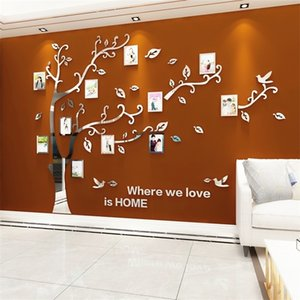 Wholesale frames for tv resale online - Wall Stickers Tree Photo Frame D Acrylic Mirror Wall Decals For Sofa TV Background Wall Decor DIY Family Photo Frame Stickers