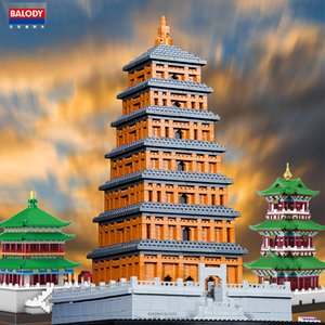 mal china großhandel-Balody Mini Micro Blöcke Architektur Riesige Wilde Gans Pagodenideen Diamant Gebäude Alte China Times Tower City Classic Sets x0102