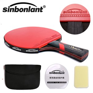 Wholesale table tennis long pimple rubber resale online - Tennis table racket long handle short handle carbon blade rubber with double face pimples in ping pong rackets with case Q1202