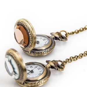 Wholesale round cut necklace resale online - Small glass cut face vintage flip pocket watch Quartz movement mm necklace Korean version sweater chain fashion watch quartz watch