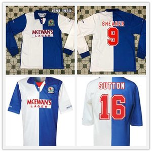 camisetas de futbol al por mayor-1994 Retro Blackburn Rovers Soccer Jerseys Home Shearer Sutton Berg Ripley Camisetas de fútbol largas de manga corta