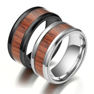 Wholesale tungsten rings men resale online - 8mm Tungsten Finger Rings Durable Vintage Titanium Stainless Steel Wood Inlay Ring Jewelry for Men Women L Stainless Steel M2