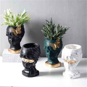 девушка портреты оптовых-Nordic Creative Butterfly Girl Head Portraits Marbold Flower Pology Living Home Decor Flower Poase Ваза Рождественские подарки LJ201209