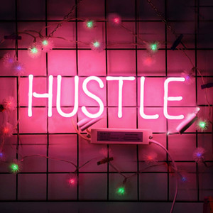 Neon Sign Hustle Pink Neon Light Glass Night Light for Kids Bedroom Office Bar Christmas Party Wall Light 11.8 x 4.3 Inch Free Shipping
