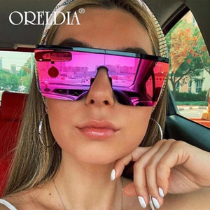 Wholesale sunglasses support resale online - Oversized Square Sunglasses Ladies Transparent Colorful Sunglasses Men Retro Flat Top Glasses Can Support And Retail