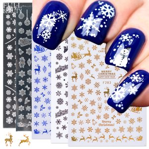 Wholesale white gold foil resale online - New D Christmas Slider Nail Sticker Decals White Gold Snowflakes Charms New Year Adhesive Foils for Manicure Beauty Decor
