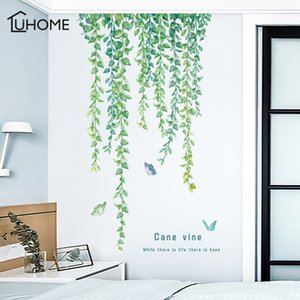Wholesale vine art for wall resale online - Natural Green Leaves Vine Wall Sticker Vinyl DIY Mural Art Sticker for Living Room Bedroom Wall Decals