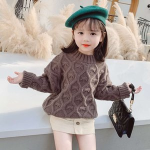 camisola meninas coreanas de tricô venda por atacado-Weaver Wear Crianças Top Autumn Korean Girls Knitting Twist Round Neck Fashion Warm Sweater Popular