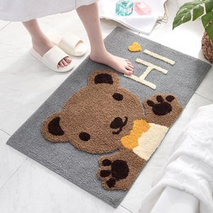 Wholesale flocked door mat resale online - Frog Bear Flocking Carpet Home Bath Non slip Mat Cute Cartoon Door Mat Bathroom Absorbent Doormat Super Soft Fiber Rug alfombra