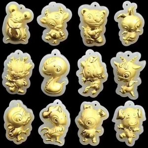 Wholesale chinese zodiac gold resale online - Chinese Wind Gold Inlaid Hetian Jade d Cartoon Zodiac Dog Pendant Lovers Simple Animal