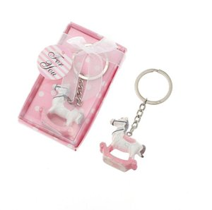 Wholesale babies rocking horse resale online - Rocking horse keychain for baby born gifts wedding favor for guest Trojan key ring Baby Shower Gift SN2045