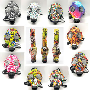 The Gas Mask With Acrylic Bong Silicone Pipe Smoking Accessories Silicone Mask printing and camouflage Hookah Shisha Wholesale