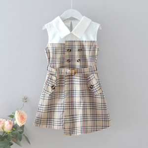 Wholesale new dress girls lapel for sale - Group buy Children Plaid Princess Dress Summer New Girls Fashion Stitching Plaid Belt Sleeveless Dress Kids Cute Lapel Casual Dresses C6926