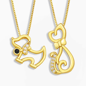 Wholesale small stone pendant necklace resale online - FLOLA Cute Cat Necklace For Women Stone Small Dog Pendant Necklace Polished CZ Cubic Zirconia Jewelery Gifts nket83