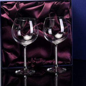 Wholesale wine package box resale online - 2Pcs Set ML Burgundy Crystal Red Wine Glass Cup Large Diamond Cupstick Goblet Wedding Gift Box Package Home Party Drinkware L0308