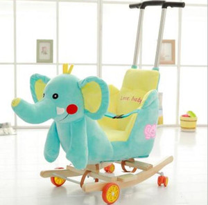 Wholesale babies rocking horse for sale - Group buy 17 colors Children s dual purpose rocking horse Trojan baby toy baby trolley rocking chair solid wood rocking cradle baby gift