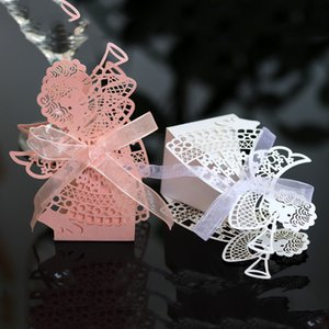 Wholesale gift baby shower resale online - 10pcs Laser Cut Hollow Carriage Favor Gifts Angel Girl Candy Boxes With Ribbon Birthday Baby Shower Wedding Party Favor Supplies