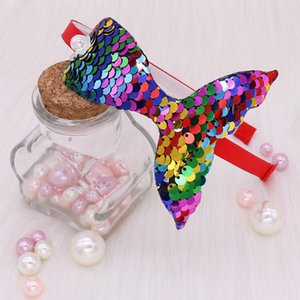 ingrosso forniture per capelli-Paillettes Mermaid Fascia Neonata Accessori per capelli Accessori per capelli arcobaleno Handmade Rainbow Bambini Hairband Little Mermaid Party Supplies Headdress HWB5664