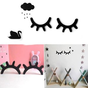 Wholesale growth eyelashes for sale - Group buy 3D Eyelash Nordic Style Wood Wall Stikers Eye Lash Wall Stick Selfadhesive Background Home Decor Children Kids Baby Room GWD4948