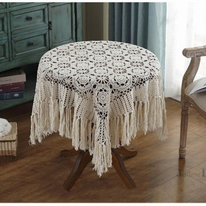 Wholesale crochet round cloths resale online - Top Luxury tassel table cover Nordic pastoral lace tablecloth crochet round tablecloths Dining christmas table cloth decorative