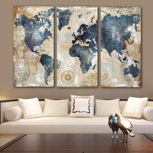 Wholesale map world poster resale online - RELIABLI ART panels Set Big Size World Map Canvas Paintings Home Wall Posters For Living Room Decorative Pictures NO FRAME