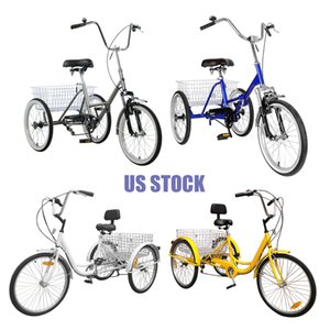 Wholesale baskets for bikes resale online - 24 quot quot Speed Adult Trike Wheel Bike with Basket for Shopping Sale near me Seniors Used Foldable Tricycle