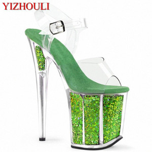 Wholesale nightclub sexy high heel sandal resale online - Stage model training sexy through bright green cm stiletto heels banquet performance nightclub stiletto sandals l34y
