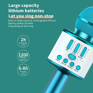 Wholesale free music plays resale online - Q88k Colorful Lights Microphone For Music Playing Singing Speaker Player Bluetooth Connection KTV mah
