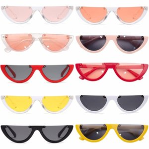 Wholesale super cool sunglasses resale online - Women Sunglasses Fashion Girl Triangle Half Frame Without Frame Retro Sunglasses Super Cool Colors