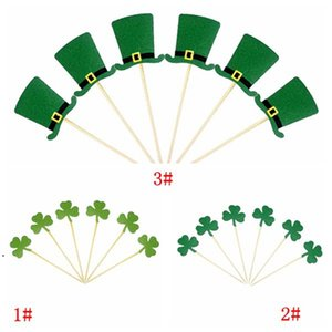 ingrosso cappelli da topper-St Patrick s Day Toppers Toppers Irish Carnival Party Decorazione Verde Trifoglio Cappello Cappello Cake Topper Decorations Forniture all ingrosso DHF4918