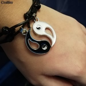 Wholesale yin yang bracelets resale online - 2 Vintage Adjustable Rope Couple Bracelet Hand Jewelry Yin Yang Charms Bracelets Black White Red Handmade Jewelry