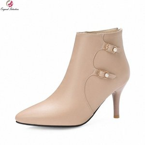 bottes à talon achat en gros de-news_sitemap_homeIntention originale Fashion Bottines de haute qualité Bottines Femme Beige Beige Marron pointu Toe Stiletto High Heal Heels Office Boots Shoes Chaussures SH V6VY