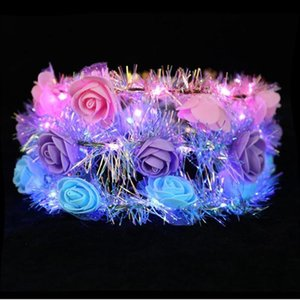 Wholesale flower head crowns resale online - LED Luminous Wreath Glow Flower Crown Headband For Bride Wedding Party Night Market Glow Garland Crown Kid Toy Head Decoration YHM785