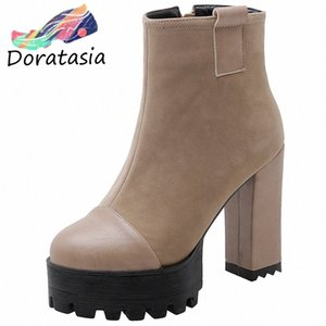 Wholesale shoe size 32 wedge resale online - Fashion Big Size Ankle Boots Women Shoes Woman Chunky High Heels Platform Street Cool Shoes Woman Boots Walking Boots k1tx