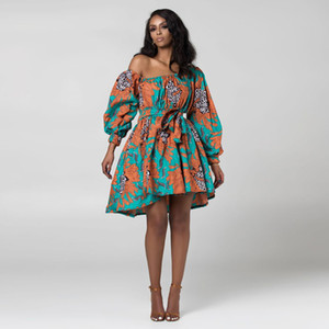 African Dashiki Dresses for Women Girls One Shoulder Casual Party Dress With Sashes Ankara Rich Dress Summer Autumn African Clothing