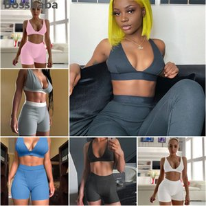 Wholesale crop top yoga pants for sale - Group buy Womens Two Piece Tracksuits Crop Top Deep V Bra High Waist Leggings Yoga Pants Sports Suit Casual Jogging Nightclub Clothing