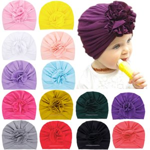 Wholesale baby boy hats ears resale online - Newborn Baby Hats Flower Caps Hairbands for Toddler Infant Kids Boys Girls Head Wraps Beanie Ear Muff Colors KBH18