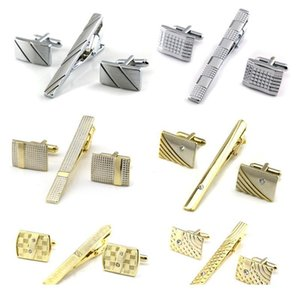 Wholesale pin cufflinks set resale online - Gold Tie Clip And Cufflink Set For Men Classic Meter Tie Clips Cufflinks Sets Copper Tie Bar Golden Collar Pin jllnes