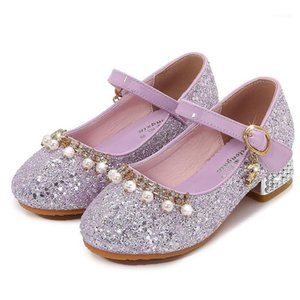 Wholesale sparkle dress shoes resale online - Girls Shoes Kids Glitter Shoes Pearls Beading Rhinestone Sparkling Sequined Romantic Dress Gift For Girls High Heels1