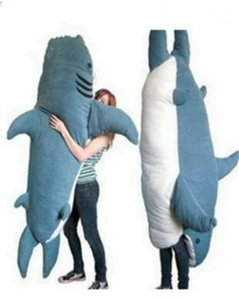 Wholesale beanbag beds resale online - Giant Big Shark Sleeping Bag Beanbag Sofa Bed Plush Stuffed Soft Gift Pull Over Skin Friendly And Comfortable Q0113