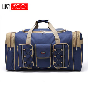 Wholesale mens travel bags for sale - Group buy Thick Canvas Casual Duffle Bag Waterproof Mens Travel Bags Long Strap Anti scratch Multi pocket Large Capacity Handbags L468