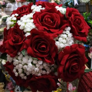 Wholesale red flowers wedding bouquet resale online - Real Images Artificial Red Rose Wedding Bouquet Beautiful Wedding Accessories Wedding Flowers Bridal Bouquets
