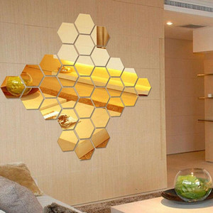 Wholesale chalkboard set resale online - 50pcs set D Mirror Wall Sticker Hexagon Vinyl Removable Wall Sticker Decal Home Decor Art DIY V2