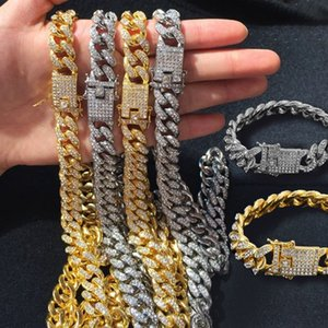 Wholesale link chain for sale - Group buy Mens Iced Out Chain Hip Hop Jewelry Necklace Bracelets Rose Gold Silver Miami Cuban Link Chains Necklaces
