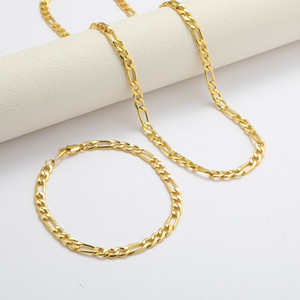 Wholesale real golden necklace for sale - Group buy Figaro Cuban Link Chain Necklace Bracelet Sets K Real Solid Gold Filled Copper Fashion Men Women s Jewelry Accessories T2