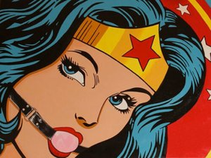 Wholesale painting ball resale online - Wonder Woman Ball Gag Sexy BDSM Pop Art Painting Home Decoration Oil Painting On Canvas Large Wall Art Canvas Pictures