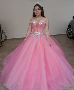 ingrosso vestiti pricess-Pink Msquerade Ball Gown Quinceanera Abiti costosi con la spalla Tulle Prom Sweet Dress Birthday Party Atture